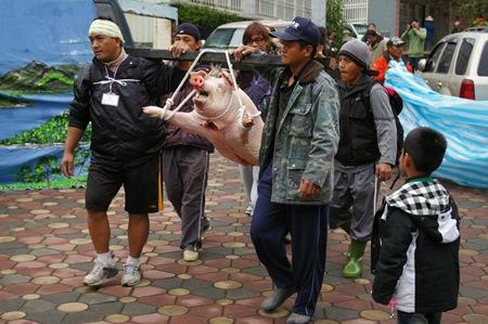 06 部落族人以傳統方式殺豬慶賀